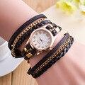 Moda PU Couro Genebra Mulheres Relógio de Aço Inoxidável Analógico de Pulso de Quartzo Pulseira Vestido Relógios Mulheres Relogio feminino