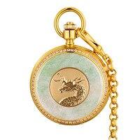 Мужские часы и коллекционные вещи Винтаж раскладушка Механические карманные часы нефрит Изумрудный золотые часы Мужские часы с драконом Art