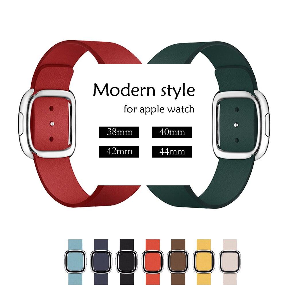 CRESTED correa de reloj de cuero genuino para apple watch banda 42mm/38mm/44mm/40mm iwatch 4/3/2/1 estilo moderno de cuero reloj de pulsera
