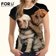 FORUDESIGNS SharPei T Shirt for Women 3D Boston Terrier tshirt Ladies Summer Elastic slim Casual Tee Shirts Dogs Clothes Tops