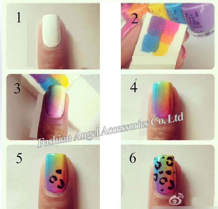 Rainbow Colored Grant Nail Art Frosted With Silver Dust Sparkles On Top