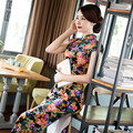 New Chinese Flowers Printing Polyester Cheongsam Dress Velvet Short Sleeve Waist Slim Cheongsam Dress
