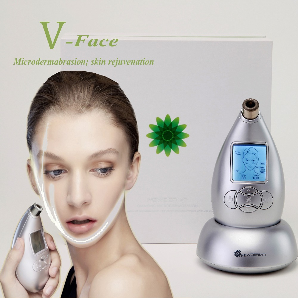 Silver FREE SHIPPING NEWDERMO Skin SPA Microdermabrasion Machine Handheld Beauty Household V Face Massage white 2016 new christmas sale dermabrasion beauty machine with 2 microdermabrasion tips for skin care face spa free shipping