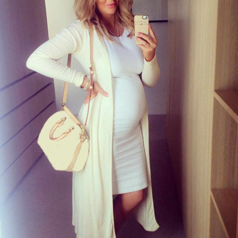 Moda mujer pregnantes cuello redondo sin mangas maternidad sólido chaleco vestido