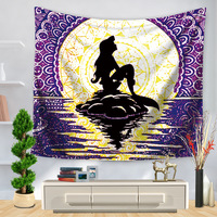 CAMMITEVER Cartoon Mermaid Whale Sea Turtle Seastars Coral Beach Towel Yoga Mat Blanket Table Cloth Mandala Dorm Table Cloth