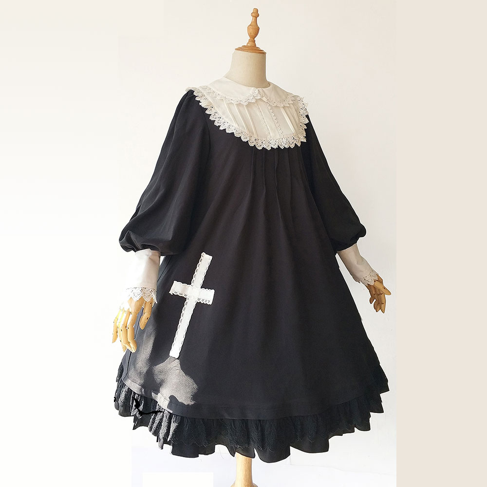 Cross Doll ~ Long Lantern Sleeve Lolita Babydoll Dress with Peter Pan Collar by Infanta ~ Pre-order notch collar lantern sleeve wrap botanical dress