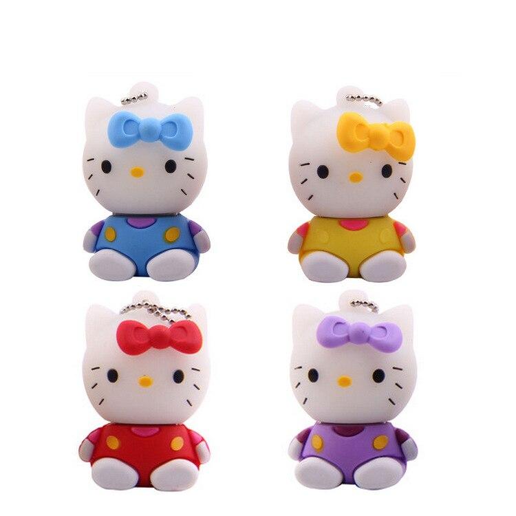 Creative Gift Regalos Presentes Lovers Pen Drive Hello Kitty Cartoon Pendrive 8GB 16GB 32GB 64GB Usb Flash Drive Cartoon Stick