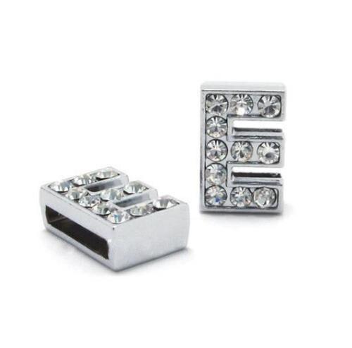 A-Z, 8 мм, стразы, кулон, буквы, подходят для DIY, подарок, шарм, кожаный браслет, браслет, пояс, ожерелье, ювелирные аксессуары - Окраска металла: E
