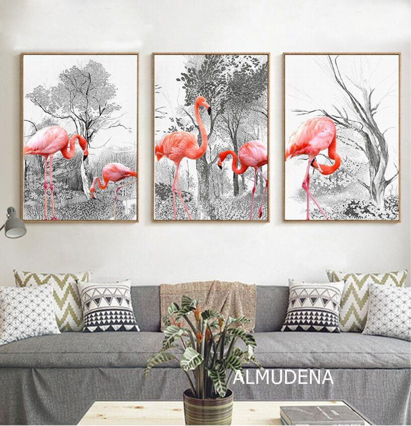 Nordic Poster Minimalist Black and White Forest Flamingo Combination Decoration Canvas Painting Living Room Art Wall Pictures in Painting Calligraphy from Home Garden