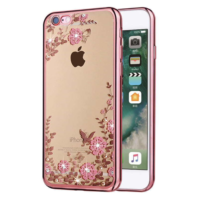 Rhinestone Flowers de lujo Soft Silicon Clear Cases para iPhone 7 Funda 5s 6s Plus SE Fundas para móviles para iPhone 6 Funda para celular