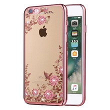 Luxury Rhinestone Flowers Soft Silicon Clear Cases for iPhone 7 Case 5s 6s Plus SE Phone Cases for iPhone 6 Case Cellphone Cover