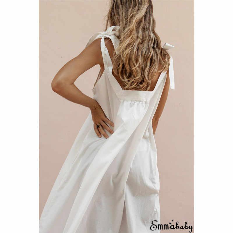 2019 vestido de verano para mujer Sexy correas túnica Vestido de playa señora sólido rosa amarillo caqui blanco espagueti Correa Maxi vestidos para las mujeres