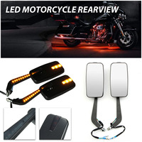 1Pair Universal   Motorcycle   Racing Rearview Mirrors CNC Aluminum With Turn Signal LED Light Side Mirrors Motorbike   Accessories