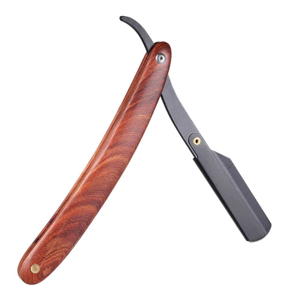 Men Shaving Straight Edge Razor Stainless Steel Manual Razor Wooden Handle Folding Shaving Knife Shave Beard Cutter Pouch 1