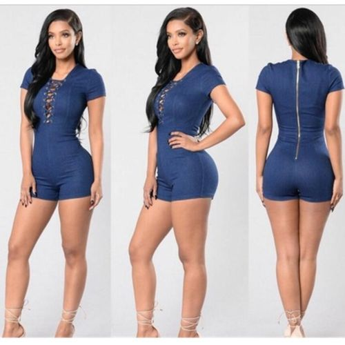 Fashion Women Lady Denim Zipper Short Sleeve Playsuit Bodycon Party Jumpsuit Trouser Jeans Shorts