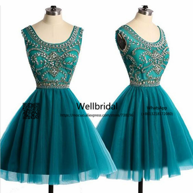 Green Ball Gown Round Neck Tulle Short Prom Dress Beading Sweet 15 Dress  Short Homecoming Cocktail d96dc550c498