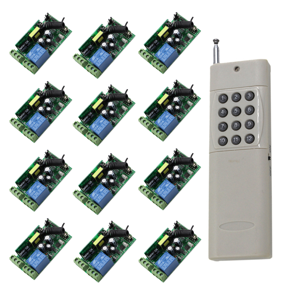 1000W 1CH AC 85V 110V 220V 250V RF Wireless Remote Control Switch Long Range 1000M Transimtter and 12pcs Receivers Free Shipping jd211a1n5 top rating 5 channel switch rf wireless remote control light switch five digital receivers 110v and 220v