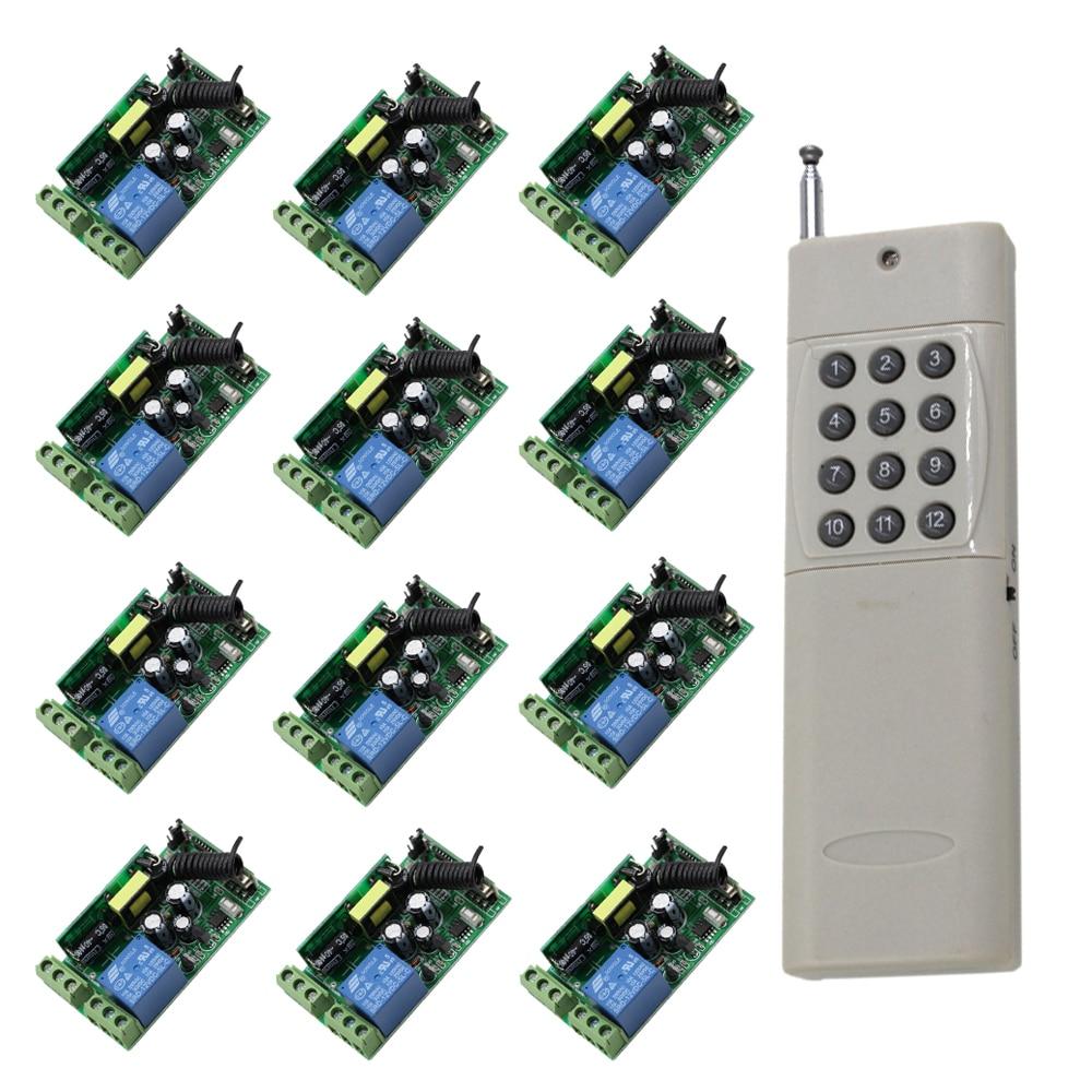 1ч 1000 Вт переменного тока 85 в 110 В 220 В 250 В беспроводной пульт дистанционного управления RF переключатель дальнего Transimtter 1000м и приемники 12шт Бесплатная доставка
