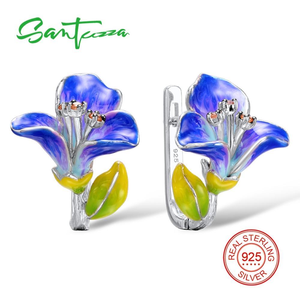 SANTUZZA srebrne naušnice za žene 925 sterling srebro cvijet naušnice s kamenjem kubni cirkonij brincos nakit emajl