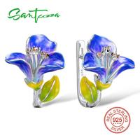 SANTUZZA Silver Earrings For Women 925 Sterling Silver Stud Flower Earrings with Stones Cubic Zirconia brincos Jewelry enamel