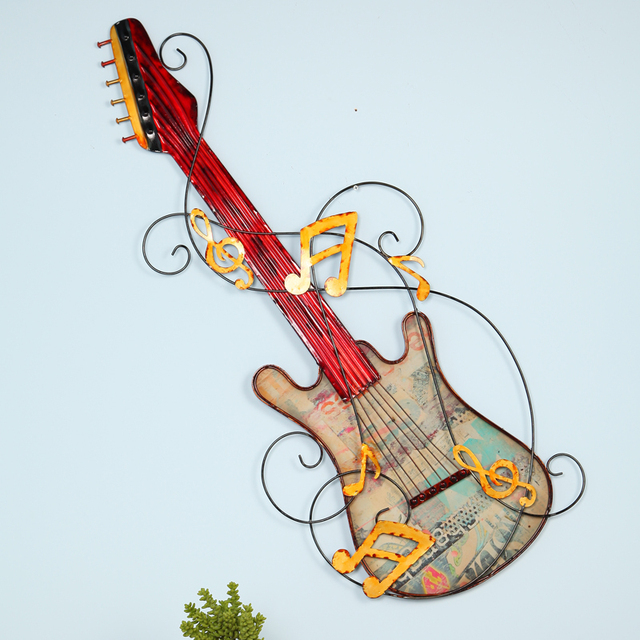 European Retro Decorative Wrought Iron Furniture Bar Wall Guitar Hangings Decorations Home Accessories