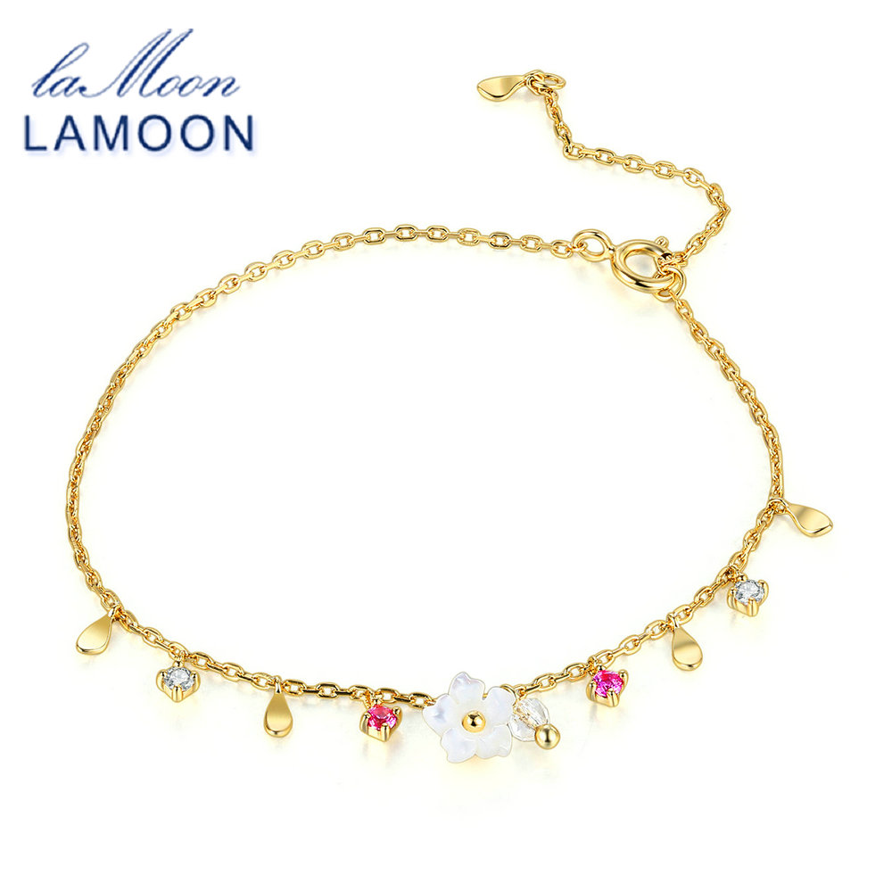 LAMOON Bracelet For Women 100% Natural Gemstone Red Corundum Shell Flower 925 Sterling Silver Jewelry Charm Fine Jewelry LMHI056