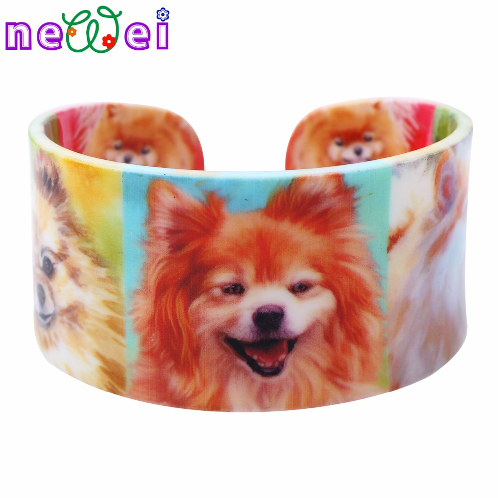 NEWEI Acrylic Pattern Love Wide Pomeranian Dog Bangles Bracelet New Animal Jewelry Accessories For Women Gift For Girls