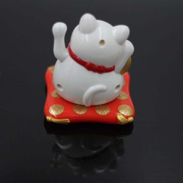 Fashion New Black/White Solar Powered Maneki Neko Welcoming Fortune Cat Lucky For Home Car Hotel Restaurant Decor Craft 4