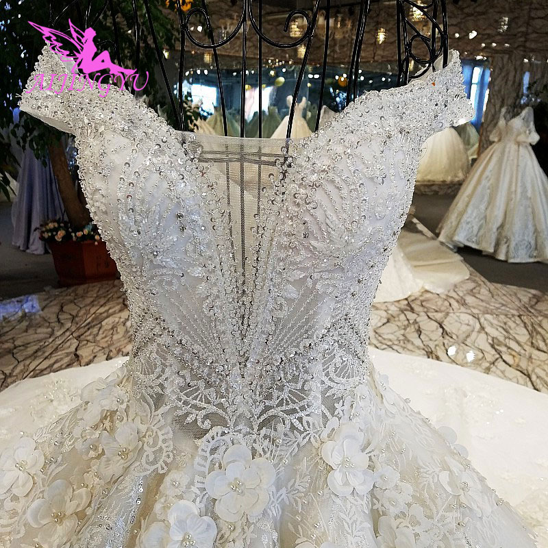 AIJINGYU White Corset Wedding Gown Lebanon Glitter Luxury Plus Size With Royal Train With Slit Couture Wedding Gowns