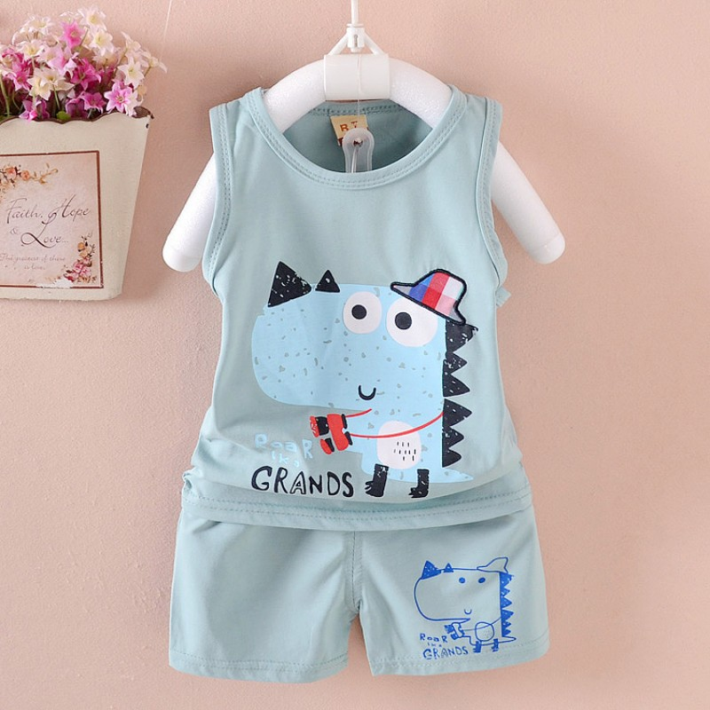 2018 New Summer Baby Clothing Set 100% cotton 3 Kinds Cartoon vest suit 1-4 Years Children Boy Girls Clothing Sets