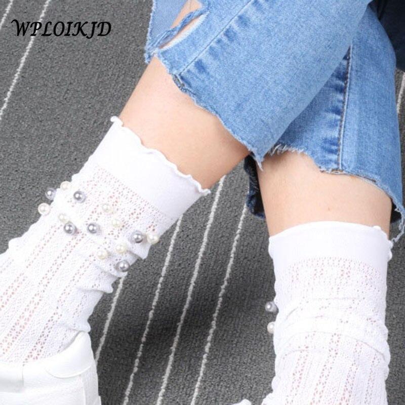 [WPLOIKJD]Japan Harajuku Transparent Creative Princess Pearl Mesh Hollow Out Sexy Socks Heap Heap Socks Women Calcetines