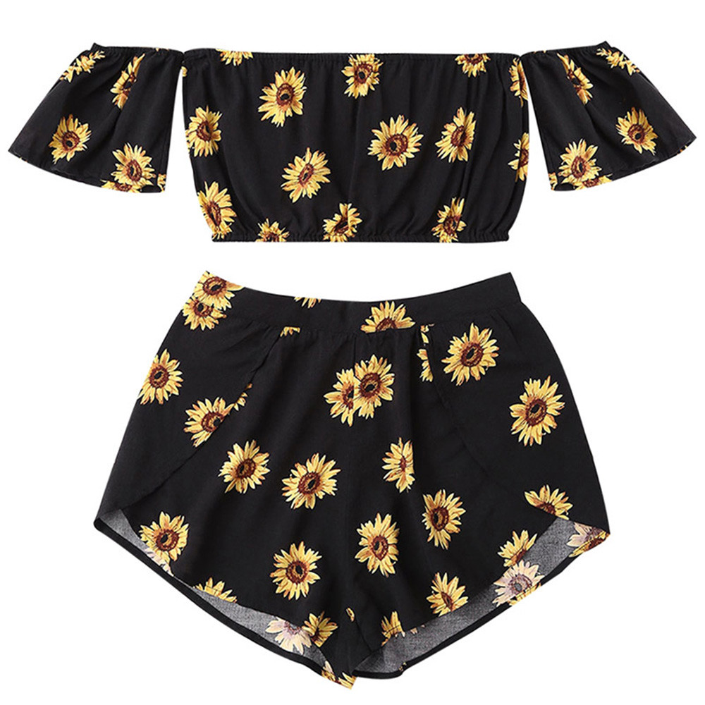 2 piece set Sexy women summer clothes Off Shoulder Casual Sunflower Printed Beachwear Crop Tops+Shorts ensemble femme