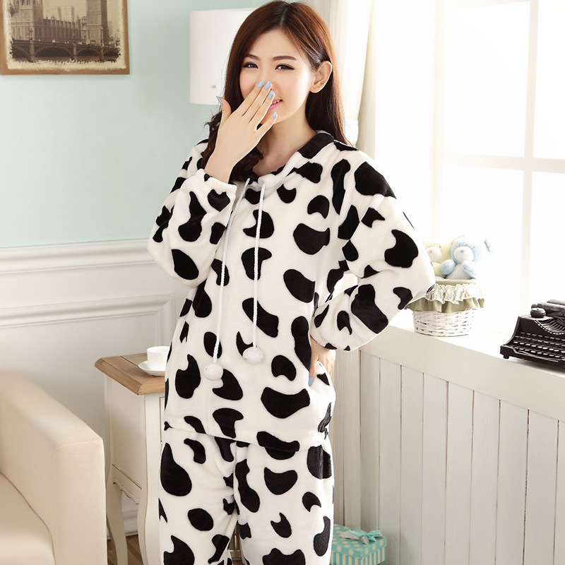 JULY'S SONG Cartoon Flannel Women Pajama Sets Autumn and Winter Cute Female Homewear Thick Warm Women Sleepwear 10