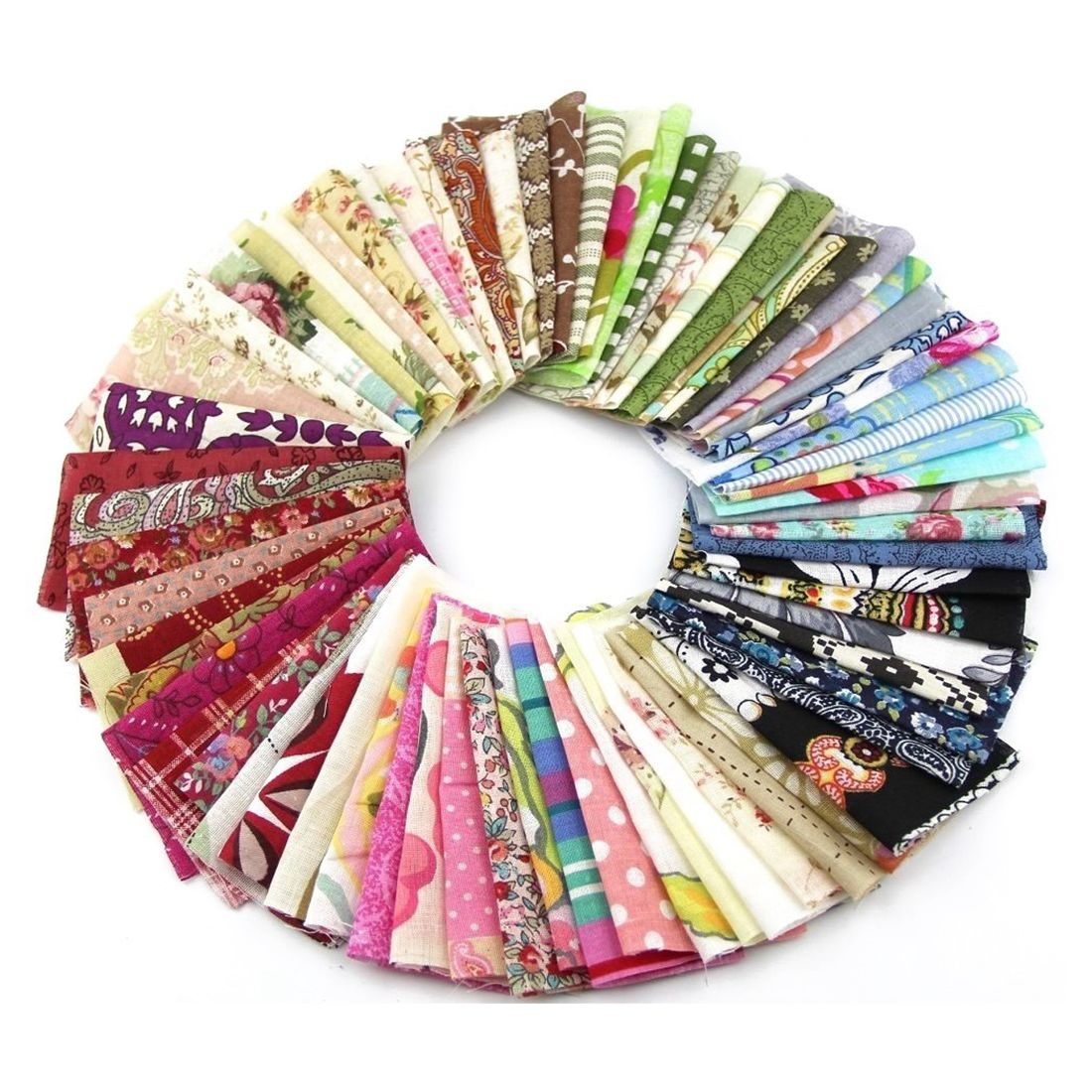 Fabric Patchwork Craft Cotton Material Batiks Mixed Squares Bundle, 10 x 10cm, 50-Pack ...