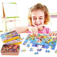 60 teile/satz Cartoon Holz Spielzeug 3D Holz Puzzle Eisen Box Paket Jigsaw Puzzle für Kind Pädagogisches Montessori Holz Puzzle
