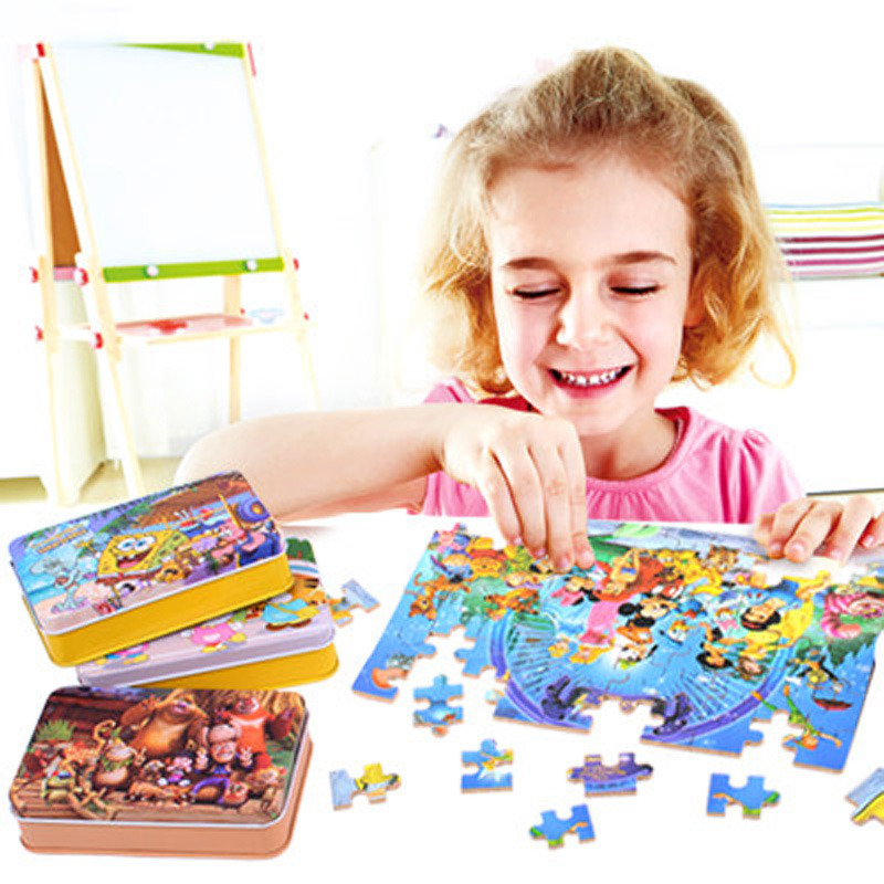 60pcs/set Cartoon Wooden Toys 3D Wooden Puzzle Iron Box Package Jigsaw Puzzle For Child Educational Montessori Wood Puzzle