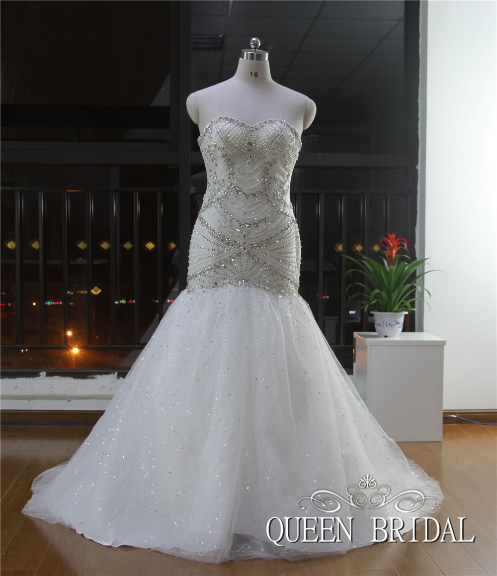 Popular Strapless Bling Wedding Dress-Buy Cheap Strapless Bling ...