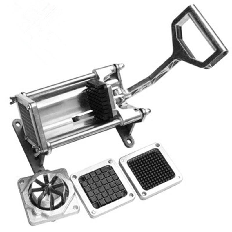 Acier inoxydable manuel Machine de découpe accessoires de cuisine Chopper coupe pommes de terre Chips pomme de terre bande Machine radis concombre