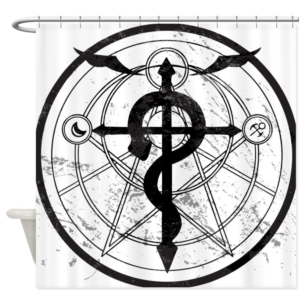 Alchemist Symbol Decorative Fabric Shower Curtain For The Bathroom With 12 Hooks