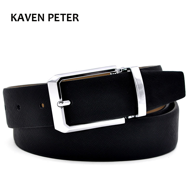 Men's Genuine Leather Belt Waist Metal Buckle Belts With Toothpick Pattern White Dress Belt And Black Belt Buckle Silver