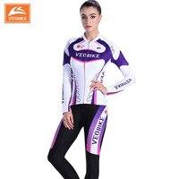 Veobike المرأة برو فريق الدراجات الملابس مجموعة سباق mtb الدراجات جيرسي مجموعة ملابس طويلة الأكمام دراجة الملابس النسائية الرياضية