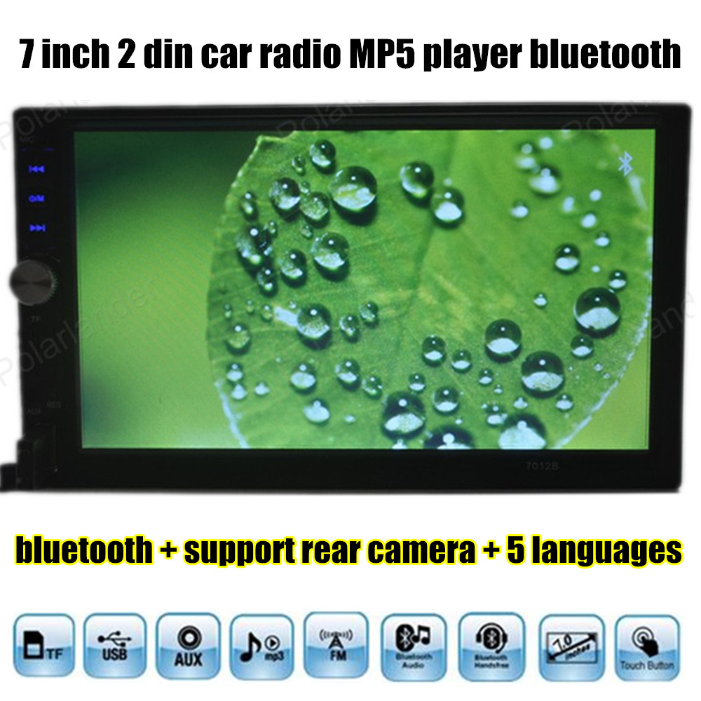 7 inch 2 din Bluetooth Car radio stereo MP4 MP5 Player 12V HD Touch Screen Audio Video FM USB TF AUX IN Mirror Link