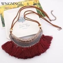 WNGMNGL 2018 New Retro Ethnic Bohemian Tassel Pendants Necklaces for Women Velvet Chain Necklace Boho Statement Fashion Jewelry