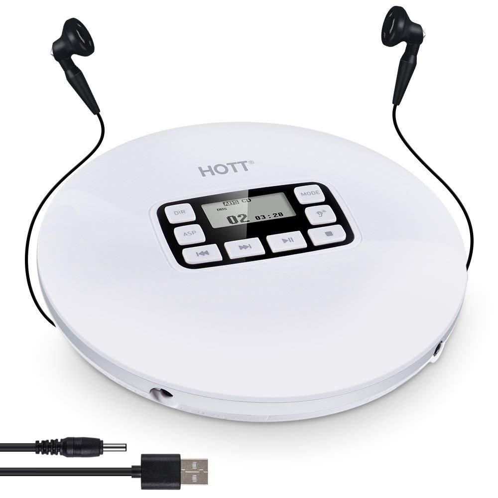 Lecteur CD et MP3 portable Hott, discman compact avec casque, baladeur pour enfants avec protection de saut pour CD, MP3, CD-R, CD