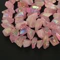 Big Rough Quartz Raw Crystals Top Drilled Nugget Pendants Bulk strand,Natural Rose Titanium Quartz Slab Bead Necklace Supplies