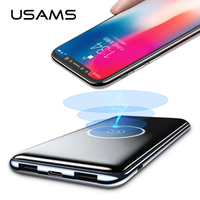 Dual USB Wireless Power Bank, USAMS 10000mah QI Wireless Charger Power Bank with Type C & Micro Port Wireless Charging PowerBank