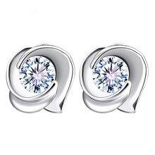 все цены на 100% 925 sterling silver fashion shiny crystal flower ladies`stud earrings jewelry Anti allergy wedding gift drop shipping cheap
