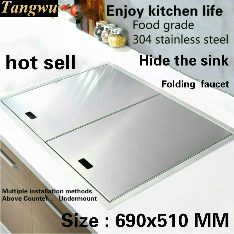Tangwu Apartment Luxury Kitchen Manual Sink Single Trough Hide Durable Food Grade 304 Stainless Steel Hot Sell 69x51x22 CM