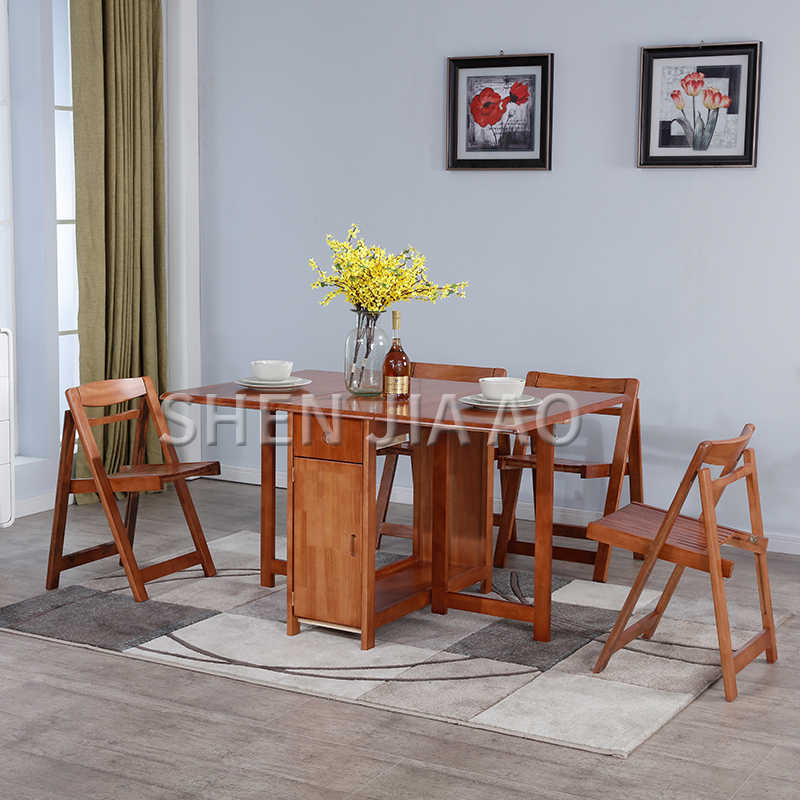 Multifunction Folding Dining Table Small Folding Dining Table And Chair Combination Solid Wood Retractable Dining Table 1pc Dining Tables Aliexpress