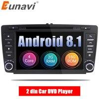 Eunavi 2 Din Car DVD GPS For Skoda Octavia 2012 2013 A 5 A5 Yeti Fabia Car Android 9.0 Quad Core 2GB RAM Stereo Radio Navigation